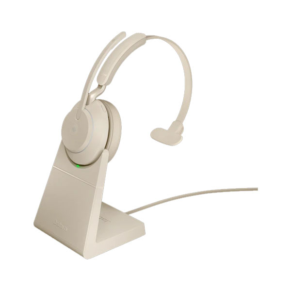 Jabra Evolve2 65 Link 380a Ms Mono Beige Wireless Headset With Stand