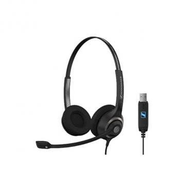 Two-Sided Pro Comm Headset with USB & Microphone Earpads Pouch Call Control
