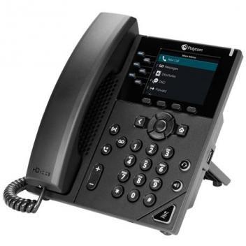 Polycom VVX 350 6-line Phone with power supply