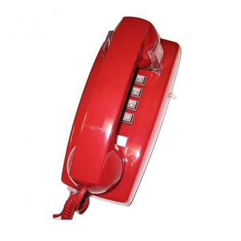 Cortelco Wall Phone with Volume - Red