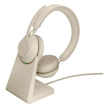 Jabra Evolve2 65 Link 380A UC Stereo Wireless Headset with Stand - Beige