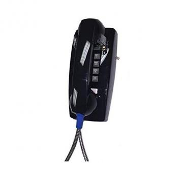 Cortelco Wall Phone Basic Armored Cord with Plastic Cradle - Black