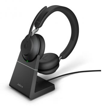 Jabra Evolve2 65 Link 380A UC Stereo Wireless Headset with Stand - Black