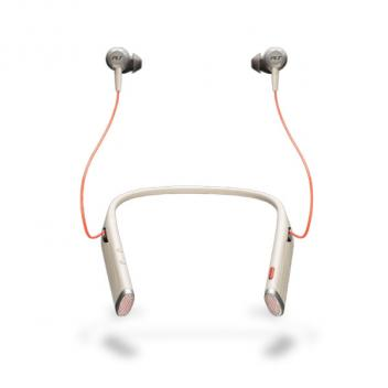 Plantronics Voyager 6200 UC NC USB-C Neckband Wireless Bluetooth Headset with Earbuds - Sand