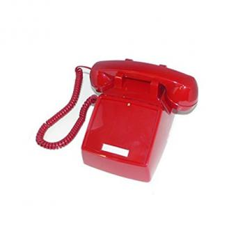 Cortelco No Dial Desk Phone - Red