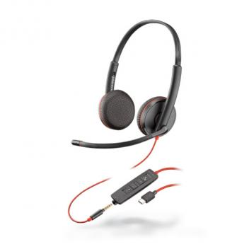 Plantronics Blackwire 3225 USB-C Over The Head Stereo Corded Headset