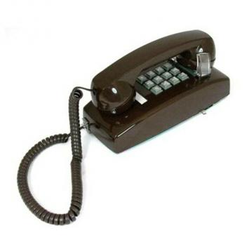 Cortelco Mini Wall Phone with Volume - Brown
