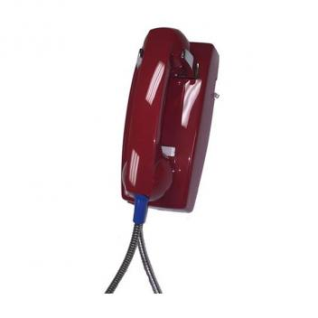 Cortelco Wall Phone Basic No Dial Armored Cord with Metal Cradle - Red